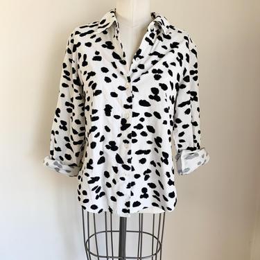 Vintage 1980s Cow / Dalmatian Print Corduroy Shirt / S/M by MsTips