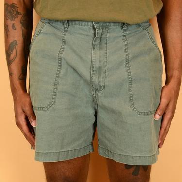 Vintage Green Military Hiking Shorts Elastic Drawstring Waist Medium 32 33 34 by MAWSUPPLY
