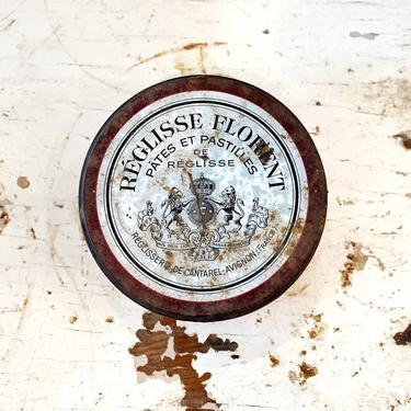 """French Enamel-Lidded Tin """"Reglisse Florent Pates et Pastilles de Reglisse"""" - French Country Kitchen Decor by CollectedATX"""