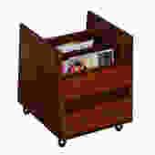 Norwegian Rosewood Rolling Vinyl / Magazine Storage Cart