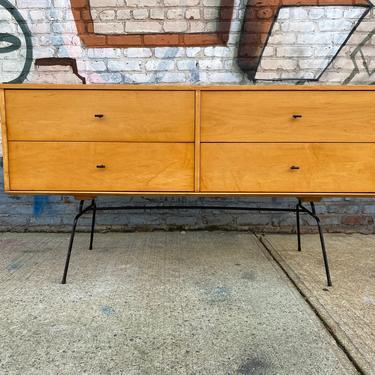 "Paul mccobb mid century modern blonde lacquer finish credenza sideboard dresser maple 4 drawer T pulls original iron legs 60"" by symmetryvintage"