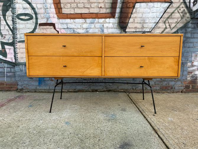"Paul mccobb mid century modern blonde lacquer finish credenza sideboard dresser maple 4 drawer T pulls original iron legs 60"" by symmetryvintage"