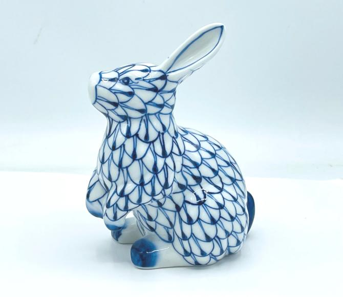 Vintage  Blue and White Fishnet Andrea Sadek Bunny Rabbit  Figurine-Nice condition by JoAnntiques