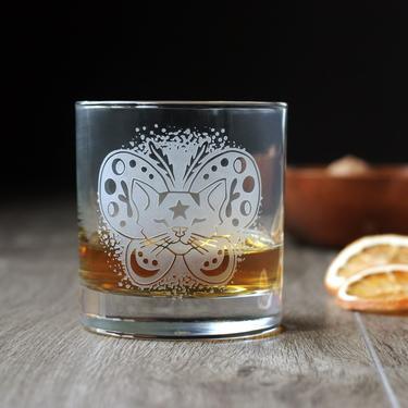 Moth Cat Halloween Cocktail Glass - Lowball DOF by BreadandBadger