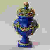 Vintage Italian Capodimonte Blue Pottery Floral Urn by Walkingtan