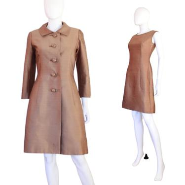 1960s Coat & Dress Set - Vintage Silk Cocktail Dress - 1960s Brown Cocktail Dress - 1960s Cocktail Coat - 1960s Cocktail Dress   Size Small by VeraciousVintageCo