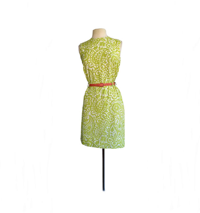Vintage 60s floral print day dress| green lime chartreuse| botanical and abstract elements summer dress| by Vintagiality