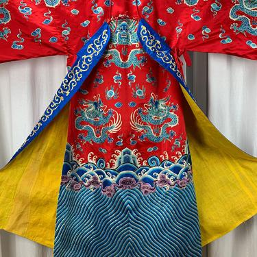 Vintage Chinese Silk Kimono in Red & Blue - Machine Embroidered Dragons and Water with Waves - Vivid Colors - Full Length - Large by GabrielasVintage