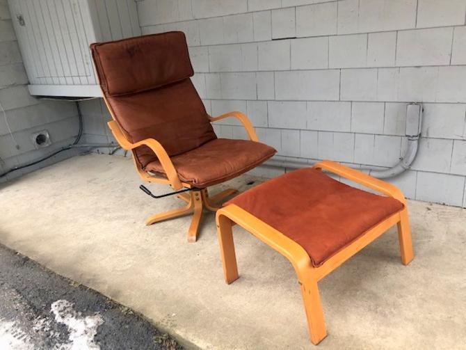 Vintage Ikea Poang Swivel Chair/Otto Set