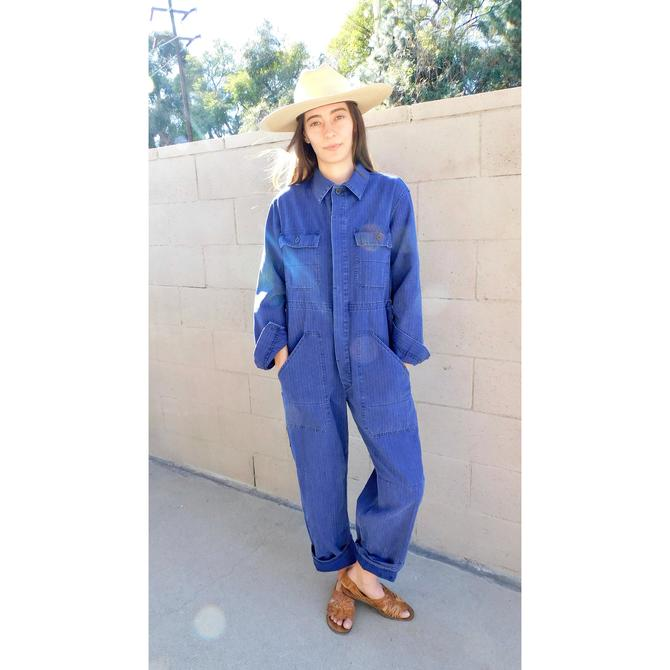 French Chore Coveralls // vintage 70s denim jumpsuit dungarees workwear overalls boho hippie work wear dress painters // O/S by FenixVintage