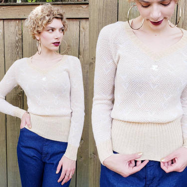 1970s Courreges Sweater V Neck Beige Cream / 70s Designer Pullover Jumper French Knit / Med / Agathe by RareJuleVintage