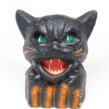 Antique 1940's Black Cat on Fence Halloween Lantern, Pulp Paper Mache, Vintage Retro Decor by exploremag
