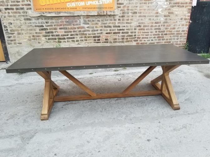 """Salvaged Wood X-Base w/Riveted 96""""inch Stainless Steel Top Rectangular Restoration Hardware Styled Dining Table"""