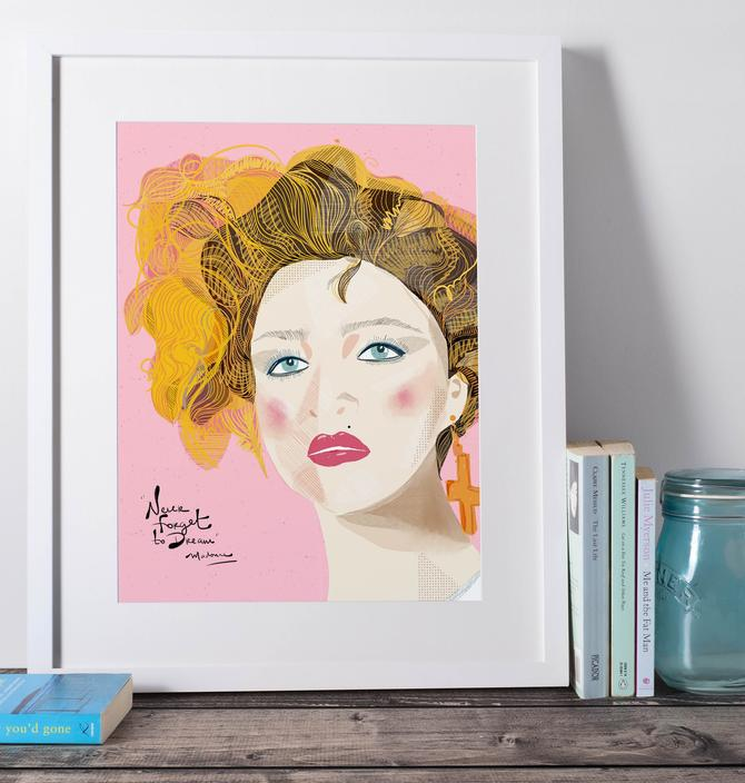 Madonna Portrait Art Print Wall Decor Music Lover Inspiration by VioletredStudio