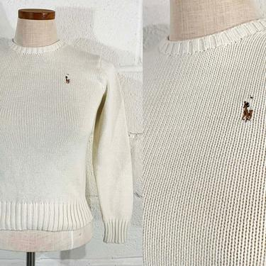 Vintage Cream White Sweater Knit Cotton Polo Ralph Lauren 1980s 80s Classic Minimal Basics Capsule Pullover Long Sleeve XS XXS Small by CheckEngineVintage
