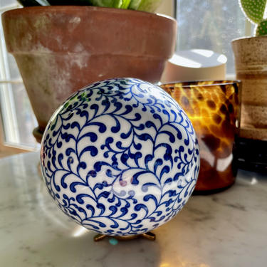 Vintage Vines Porcelain Carpet Ball, Ceramic Orb, China Sphere - Cobalt Blue White, 4 inch, Chinoiserie Home Decor, Collectible, Bowl Filler by VenerablePastiche
