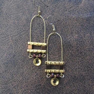 Minimalist earrings, brutalist earrings, mid century modern earrings, bold statement earrings, brown hematite, unique chic gold earrings, by Afrocasian