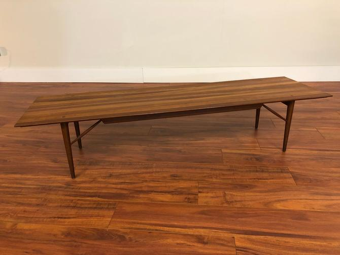 Winchendon Solid Walnut Mid-Century Modern Long Coffee Table by Vintagefurnitureetc