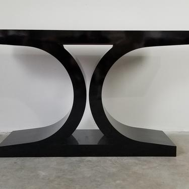Karl Springer Style Postmodern Black Laminate Console Table . by MIAMIVINTAGEDECOR