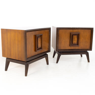 Hoke Wood Products Mid Century Walnut and Burlwood Nightstands - A Pair - mcm by ModernHill