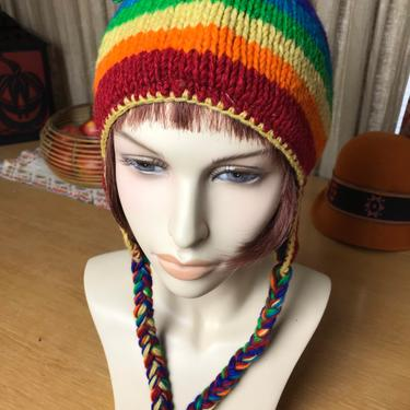 Rainbow stripes Woolen winter hat~ braided toggles~ Nepali hand made~ open size unisex style~ ski hat fleece lined soft by HattiesVintagePDX