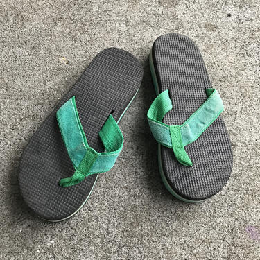 1980s Flip Flops Vintage Sandals Green Black Stripe Foam 80s Eighties Thick by purevintageclothing