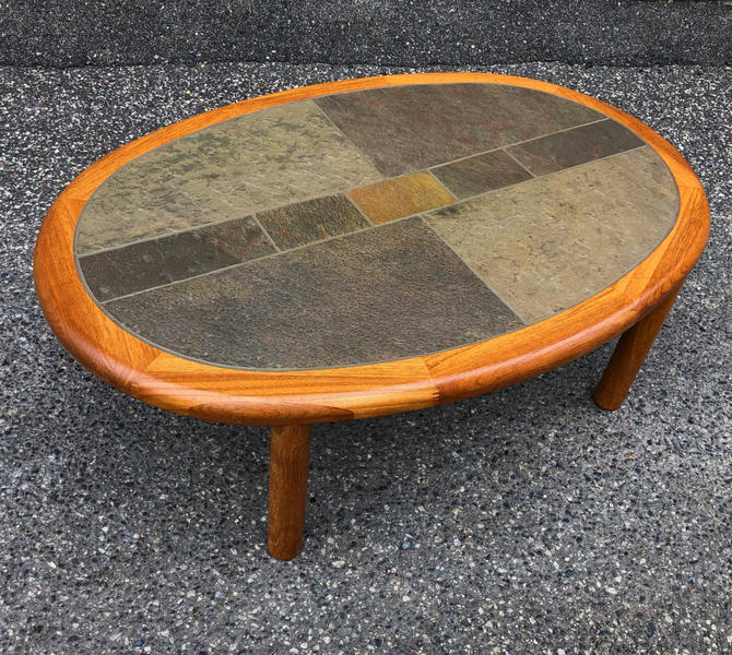 Teak + Tile Oval Coffee Table