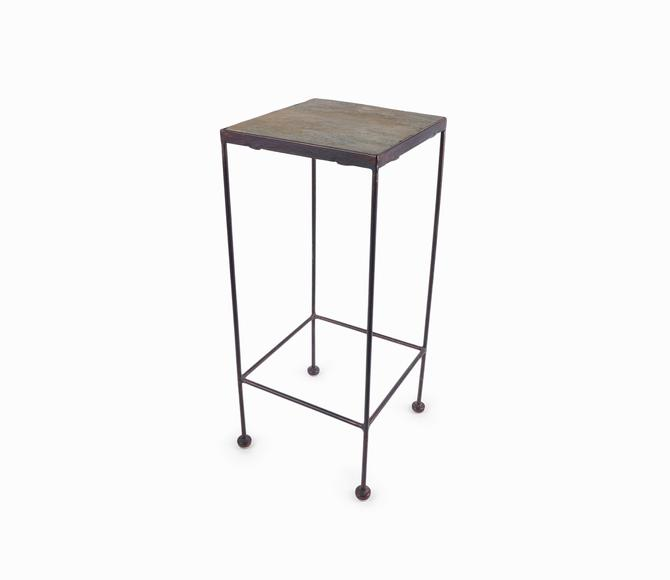 Vintage Metal End Table Stone Top by VintageInquisitor