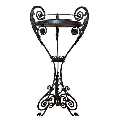 Antique Italian Art Nouveau Hand-Forged Wrought Iron Marble-Top Pedestal Stand Planter Attributed to Alessandro Mazzucotelli - circa 1900 by LynxHollowAntiques