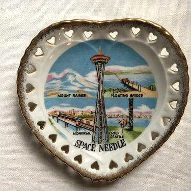 Vintage Seattle Space Needle Heart Plate, Small Souvenir Plate With Heart Cut Outs, Mount Rainier, Floating Bridge by luckduck
