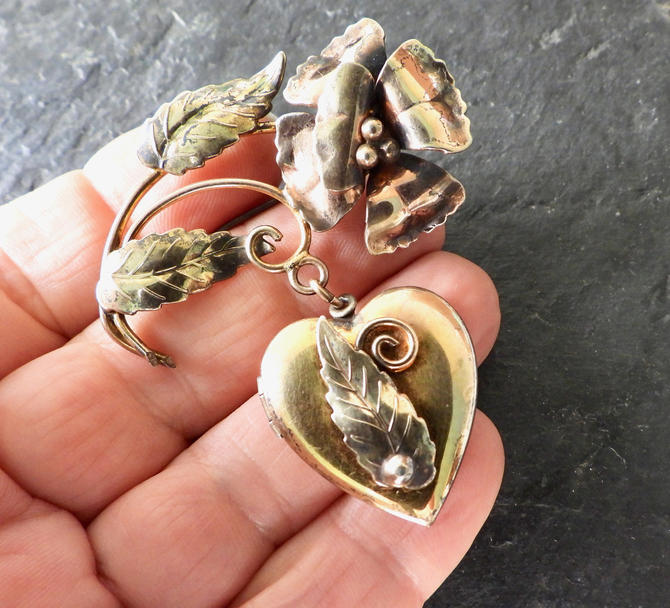 Vintage Heart Locket Flower Brooch 12K Gold Filled over Sterling by LegendaryBeast