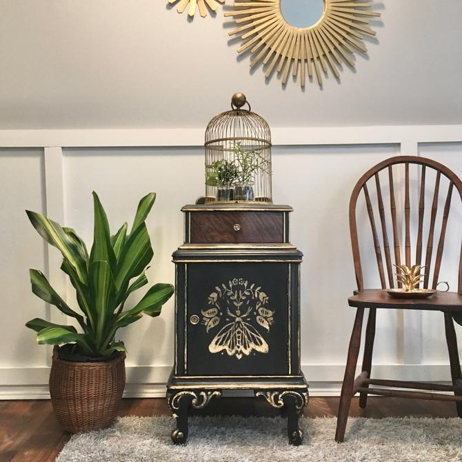 Antique Wooden Safe Charcoal and Gold Gilded Hand Painted Nightstand Moth Stenciled Unique Botanical Design by VintageCoreReStore