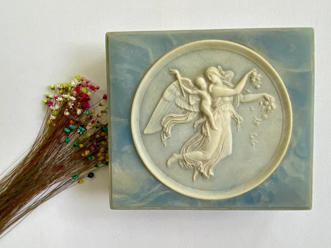 Vintage Angel And Cherub Incolay Stone Jewelry Box, Angel And Putto, Light Blue Sandstone Like Box. Religious Trinket Box, Made in USA by luckduck