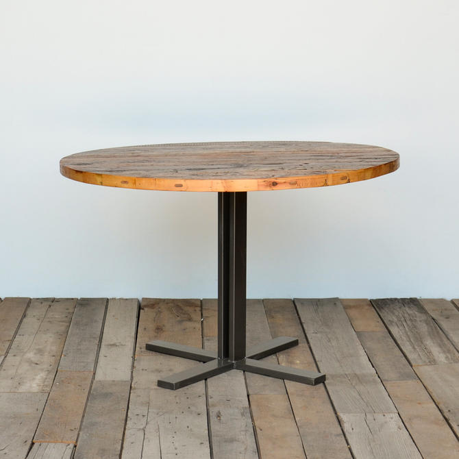 """Round Dining Table with reclaimed wood top and steel legs in your choice of color, size/finish. 4 Prong Standard Base height 30"""" by UrbanWoodGoods"""