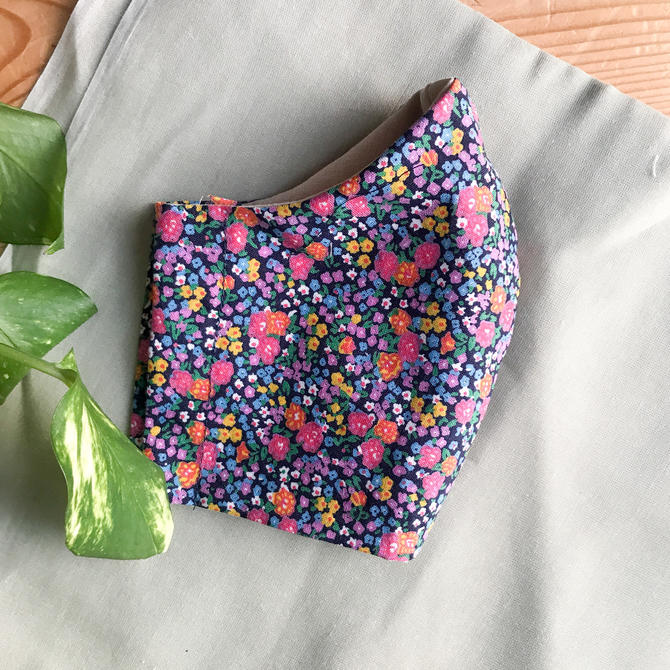 neon floral sustainable face mask by KittenSurprise