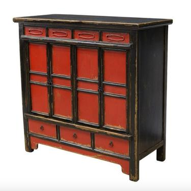 Antique Chinese Red & Black Lacquered Hardwood Decorative Cabinet by LynxHollowAntiques