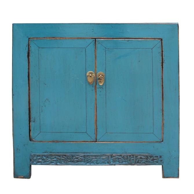 Chinese Distressed Bright Turquoise Blue Foyer Console Table Cabinet cs5003S