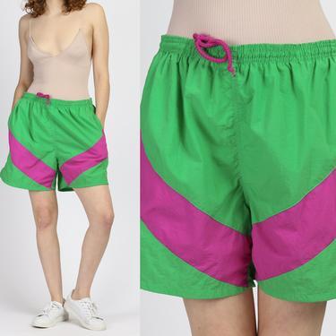 Retro 80s Chevron Striped Swim Shorts - Men's Large   Vintage Neon Green Pink Swim Trunks by FlyingAppleVintage
