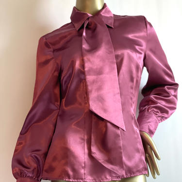 Raspberry Pink Satin Pussybow Blouse fits S - XL by BeggarsBanquet