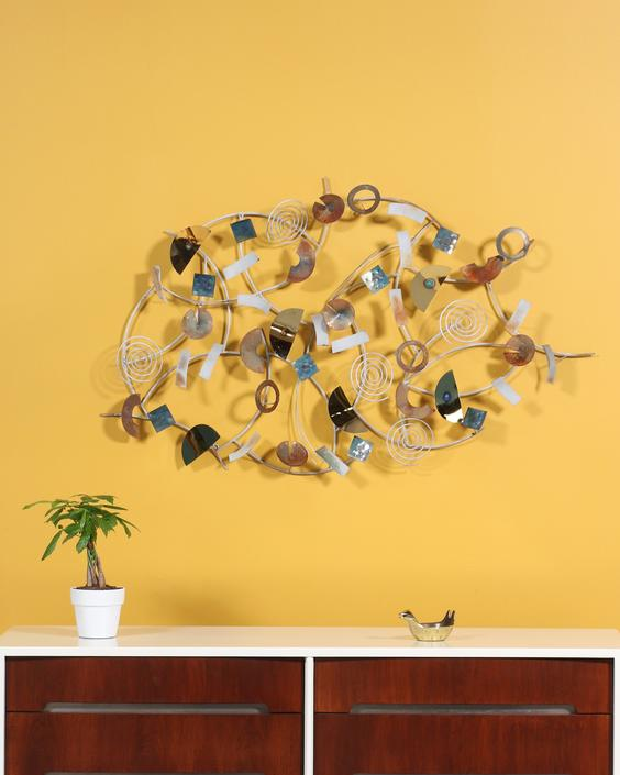 Mid Century Abstract Wall-Art Metal Sculpture by