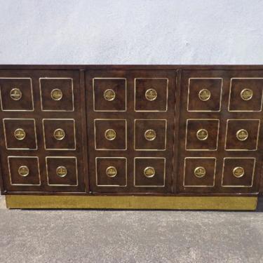 Vintage Mastercraft Credenza Buffet Console Sideboard Burl Brass Gold Storage Hutch Hollywood Regency Glam Mid Century Dining TV Cabinet by DejaVuDecors
