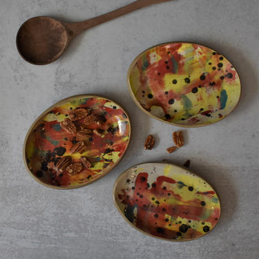 Set of three ceramic dishes, Apitizer dish, tapas plate, Smudge dish,  trinket dish, valentines day gift by claylicious