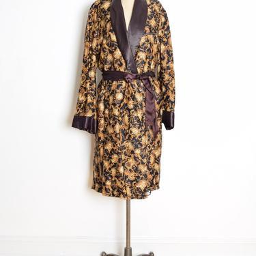 vintage 50s smoking jacket black baroque print cotton satin lapels Hugh Hefner robe L clothing by huncamuncavintage