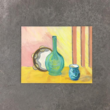 Vintage Painting 1960s Retro Size 16x20 Still Life + Tambourine + Bottle + Mid Century Modern + Acrylic on Canvas Board + MCM Wall Art Decor by RetrospectVintage215