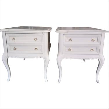 VINTAGE Bedside Tables, French, French Country, Shabby Chic, Solid Wood, Large Nighstands, Pair of Nightstands by 3GirlsAntiques