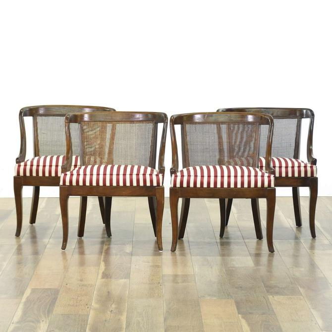 Set 4 Barrel Cane Back Dining Chairs W Stripe Seats