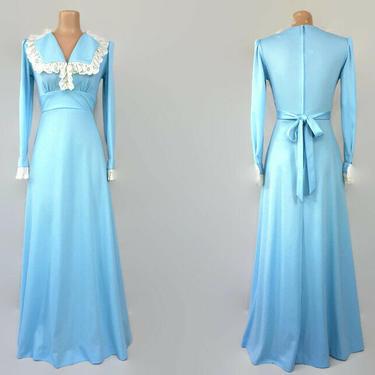 VINTAGE 70s Sky Blue Cottagecore Maxi Dress  1970s Prairie Festival Dress   1970s Lace Trim BOHO Dress   Long Sleeve Disco Gown by IntrigueU4Ever