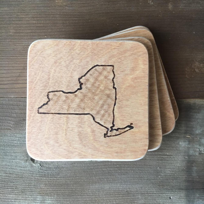 State Map Coasters - Woodburned - Set of 4 by TheNimbleBarber