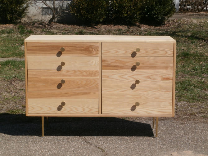 "X8420a Hardwood Dresser with 8 inset Drawers,  Flat Sides, 50"" wide x 20"" deep x 34"" tall - natural color by SolidCherryHeirlooms"