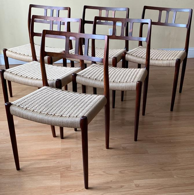 Set of six Møller Model 79 Side Chairs, Designed by Niels Otto Møller, by J.L. Møllers Møbelfabrik, rosewood and Danish paper cord by ASISisNOTgoodENOUGH